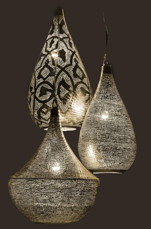 lampe cuivre suspension ajourée