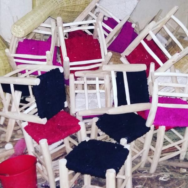 Tabouret bécharouite laine et coton tressé