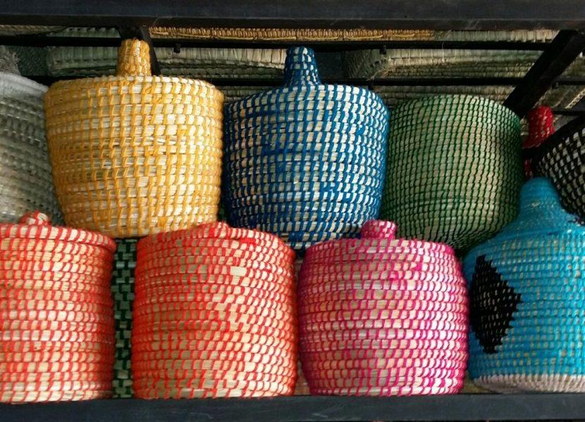Nouveau poubelle salle de bain panieres laine feuille de palmiers Archives YD-08