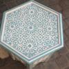 Table cigarette peinte a la main bleue tendre ocotogonale